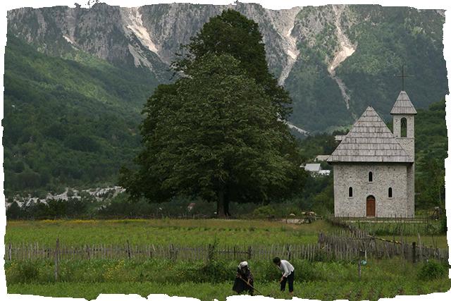 Accoursed Mountains Peaks of the Balkans Thethi Church Self-guided Outdoor Albania walking hiking swimming cycling trekking rafting snowshoeing river hiking tours holidays travel family kayak ski yoga trekking Albania Western Balkans