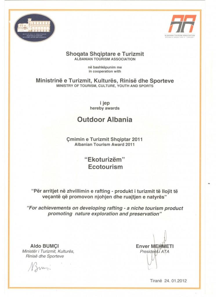 Certificate 3 Outdoor Albania